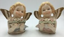Rossini CHERUB Figurines Porcelain ANGEL Busts Japan PAIR Hand Painted