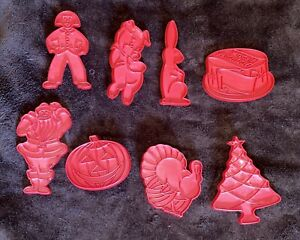 (8) Vintage Tupperware Cookie Cutters Red Plastic Holiday Pig Birthday