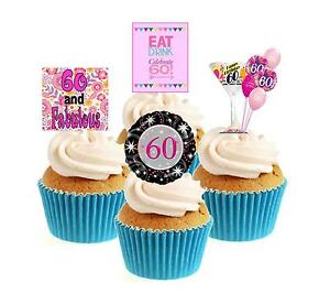 Novelty 60th Birthday Mix pink 12 Edible Stand Up wafer paper cake toppers party