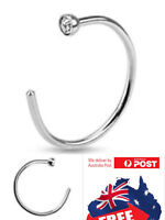 New 316L Surgical Steel 20g 22g Silver Nose Hoop Ring with 2mm Clear CZ Gem 1pc