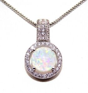 Silver Fire Opal And Diamond 1.64ct Cluster Necklace Free Box