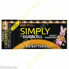 10 x pilas AAA simplemente Duracell MN2400 LR03 1.5V MINI STILO/Micro Alcalina