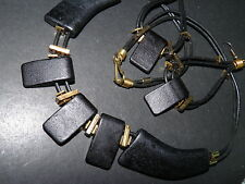 NEW DEMI BLACK BEAD  NECKLACE AND PIERCED EARRINGS