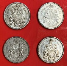 Lot 4 Canadian .800 Silver Half Dollar (50Cents) 1962-1963-1964-1965 Coins