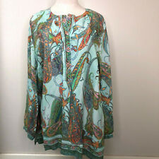NEW Selection By Ulla Popken 16 18 Colorful Pastel Paisley Tunic Top Blouse