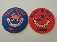 BEER COASTER ~^~ Wild Goose Amber ~ 1980's Brewery, Cambridge MARYLAND ** CLOSED