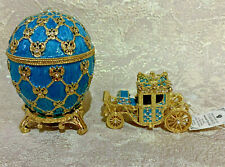 """Faberge egg Coronation with a carriage Blue (3.78""""). Made in Russia"""