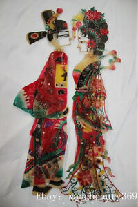 Chinese Cowhide Shadow Play Puppet--Scholar & Lady(Arms legs Can move)