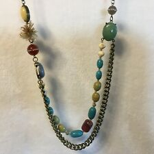 """Ann Taylor LOFT 30"""" Long Faux Turquoise Beaded Statement Necklace"""