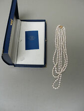LOVELY 3-STRAND 6.5mm AKOYA WHITE PEARL NECKLACE, 14K GOLD CLASP