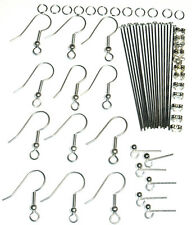 A MIX 60 SILVER COLOUR EARRING FINDINGS NICKEL FREE SET 2