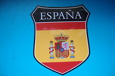 2  SPAIN  ESPANA   FLAG SHIELDS  CAR WINDOW BUMPER  STICKERS MOTORBIKE HELMET