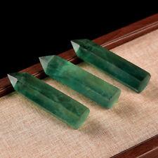 3X Natural Green Fluorite Quartz Crystal Wand Point Healing Rock Stone Obelisk