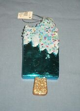 Ice Cream POPSICLE Christmas Tree ORNAMENT Plastic Beaded Glitter Frosted Blue