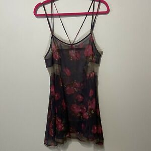 Intimately Free People Navy Fuchsia Brown Print Tulle Chiffon Chemise Gown M Euc