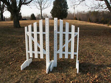 Horse Jumps 3 Panel Slant Wooden Wing Standards 5ft/Pair - White/Natural #214