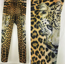FIERCE Leopard Graphic Legging Face Print Portrait Pants Skinny Cheetah