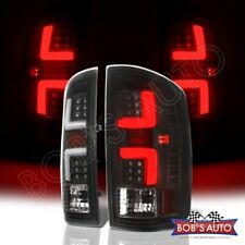 For 07-08 Dodge Ram Black Error Free 3D White Tube LED Tail Lights Brake Lamps