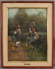 Antique FLETCHER RANSOM American Genre Oil Painting Country City Boy Dog & Bees