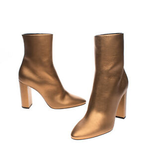 RRP €975 SAINT LAURENT Leather Ankle Boots Size 40 UK 7 US 10 Heel Made in Italy