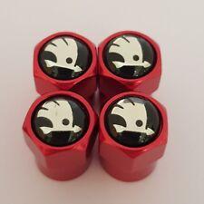 SKODA Negro Top Rojo Coche Válvula Casquillos de polvo de Rueda de Aleación Metal todos los modelos Fabia Yeti