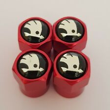 SKODA Black top RED Car Valve Alloy Metal wheel dust Caps All models Fabia Yeti
