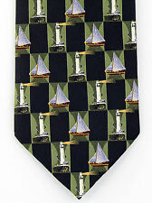 New Lighthouses Sailboats Mens Necktie Sailing Boat Ship Nautical Black Neck Tie