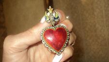 ANTIQUE PENDANT GOLD/SILVER ENAMEL SWALLOW RED HEART DIAMOND 0.43ct 24,22gr