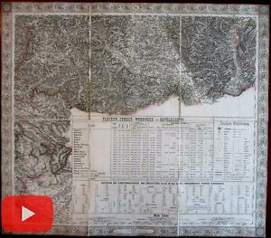 Serbia Europe Skutari 1858 Schede large linen backed military detailed map