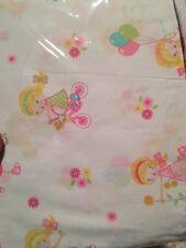 Girl's Bicycles Flowers Balloons Pink White Yellow Twin Sheet Set Lyla Rose NIP
