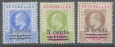 SEYCHELLES 1903 KE7 Surcharge Set of 3 MLH