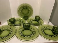 Set of 6 Vintage Green Kings Crown Thumbprint Snack Plate & Cup 1950s Retro EUC