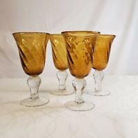 Hand Blown Amber Gold Yellow Bubble Glass Wine Goblets Glasses Clear Stems 4