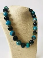 Green Marble Effect Chunky Beaded Statement Necklace Costume Jewellery Boho Arty