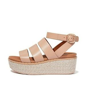 NWT FitFlop ELOISE Beige Espadrille Leather Wedge Sandals - 8/39