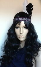 Indian Squaw Black Wavy Fancy Dress Wig & 2 Feathers Embroidered HeadBand