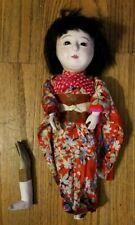 RARE Vintage Japanese Itchimatsu Gofun Squeaker Doll Kimono Glass Eyes Parts