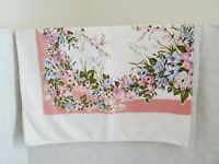 Vintage Cotton Table Cloth 4x3 Pink and White Strawberries Blue