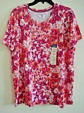 Ladies Laura Scott  Plus Knit  Fushia Red  Floral Top  Short Sleeves Size 1X New
