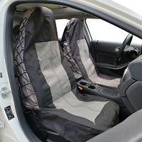 For Toyota Hilux Seat Cover Charcoal Canvas Waterproof 600D Map Pocket Front