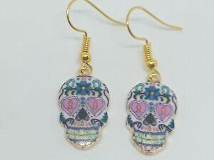 Novelty White Patterned Skull Enamel Charm Drop/Dangle Earrings