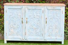 Carved French Provincial Shabby Chic Country Sideboard Blue Teak Top Hand Buffet