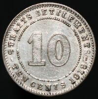 1919   Straits Settlements George V 10 Cents   Silver   Coins   KM Coins