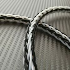 New!! 0.5m Of 12 Core Round Braid Pure Silver Cable 12 x 26awg