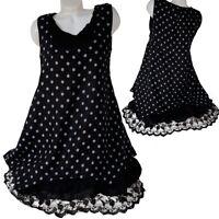 summer pure linen lace tunic dress layered look 44 46 48 50 Dots L XL Black
