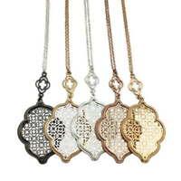 Cut Out Filigree Moroccan Quatrefoil Clover Pendant Necklace Long Chain Jewelry