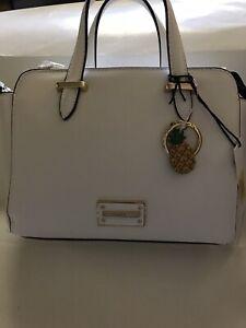 Kate Landry Lolo Mini White Faux Leather  Satchel