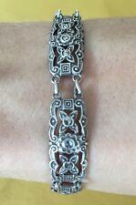 """Antique Art Nouveau Filigree Marcasite Silver Bracelet 7 3/8"""""""