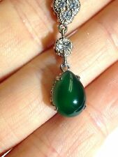 Lovely! Teardrop Cabochon Faux Jade & CZ Sterling Silver Necklace