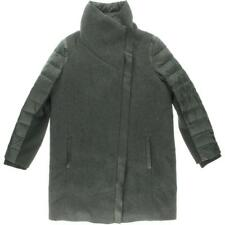 Elie Tahari 2985 Womens Audrey Gray Wool Leather Trim Basic Coat Jacket S BHFO